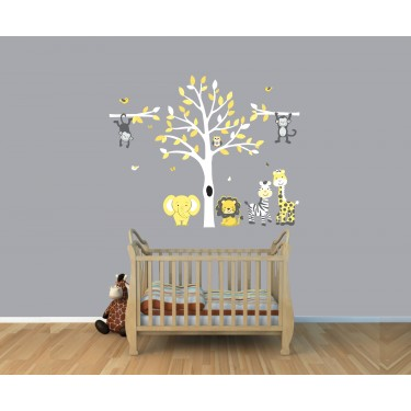 Yellow  Gray Jungle Tree Wall Decal With Monkey Wall