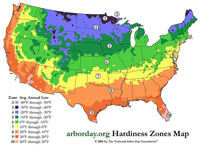 Grow Zone Map of the Continental United States