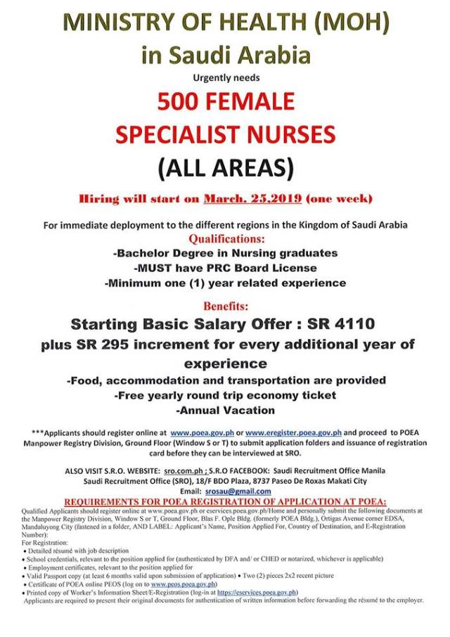 Saudi MOH hiring for nurses