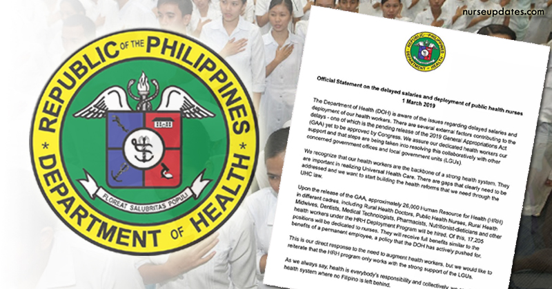 DOH: Nurses' salaries, deployment delayed due to pending release of 2019 budget