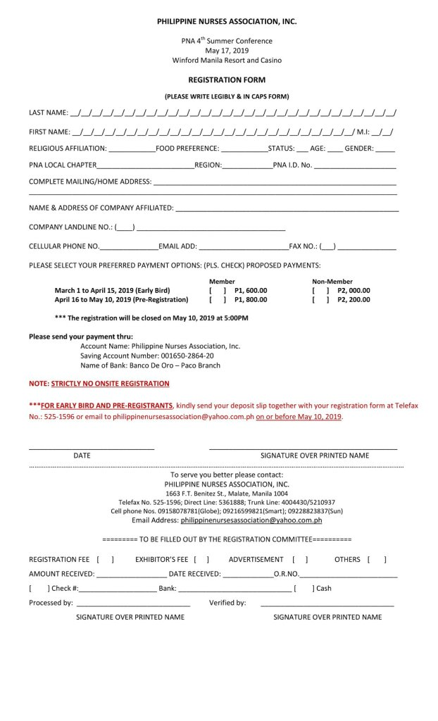PNA Summer Conference Registration Form