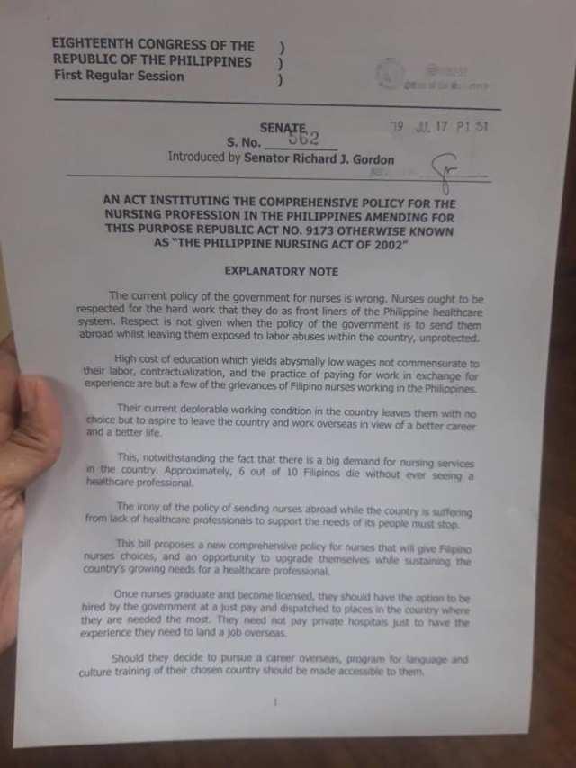 Dick Gordon Senate Bill No. 562 instituting comprehensive policy for nurses.