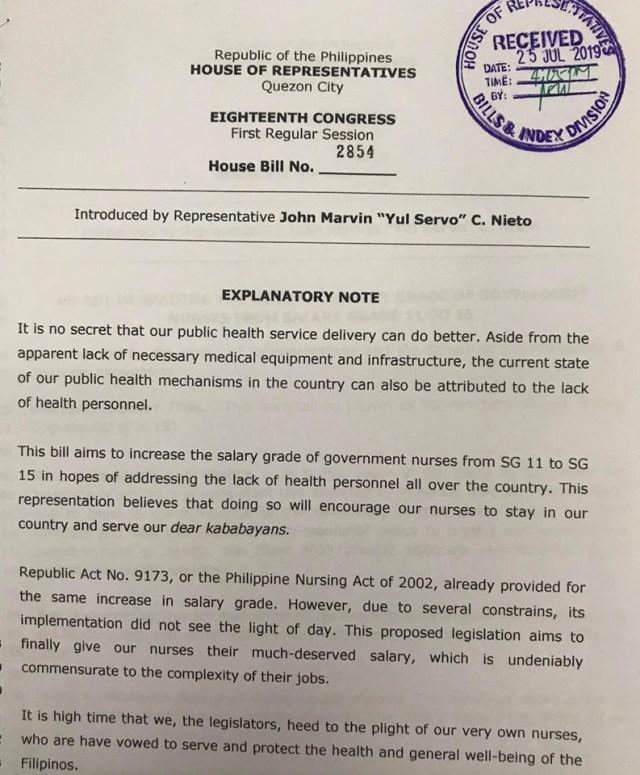 Rep. Yul Servo Nieto files HB 2854 upgrading nurses salary to SG 15.