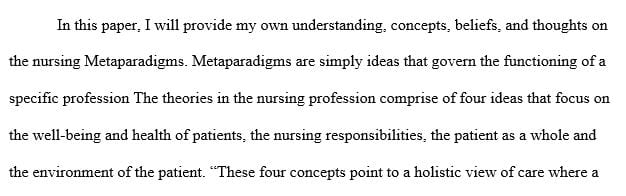 Describe and explain your personal beliefs about the four concepts of the nursing metaparadigm