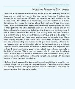 nursing entrance essay nursing school