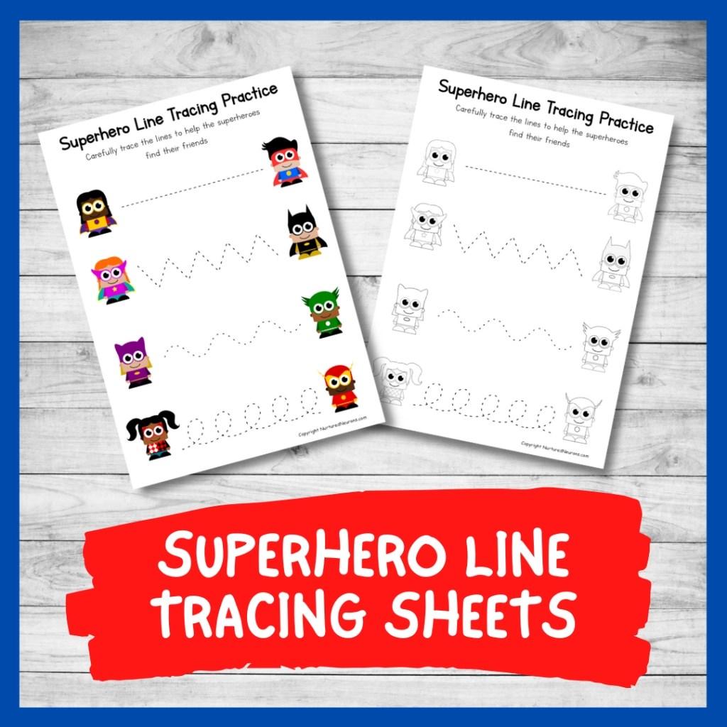 Superhero Line Tracing Worksheets Preschool Printable