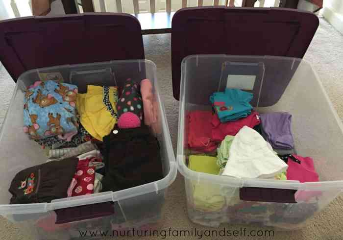 Baby Girl Clothes in Plastic Storage Totes with Website