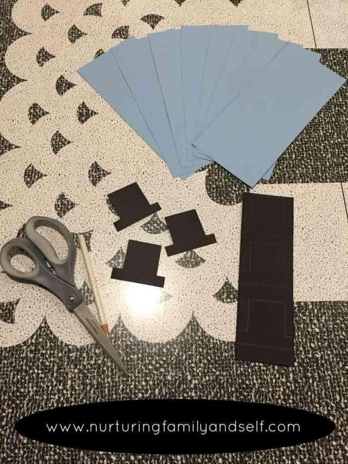 Materials for Snowmen Footprint Art