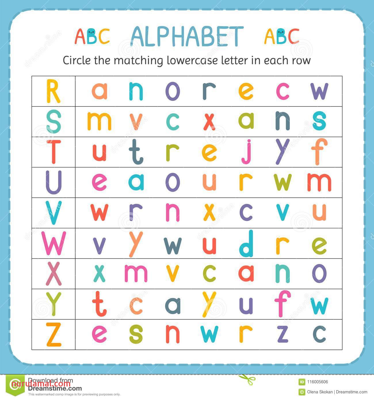 Alphabet Worksheets Kindergarten Toddler Preschool Nurul
