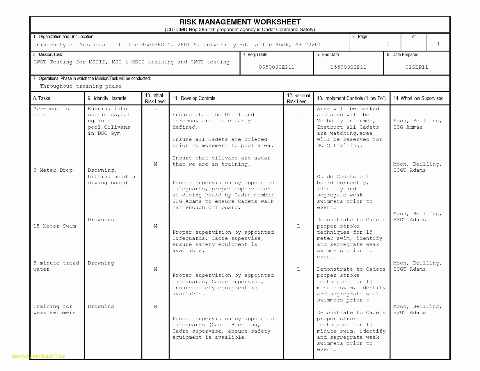 Deliberate Risk Assessment Worksheet Image Collections