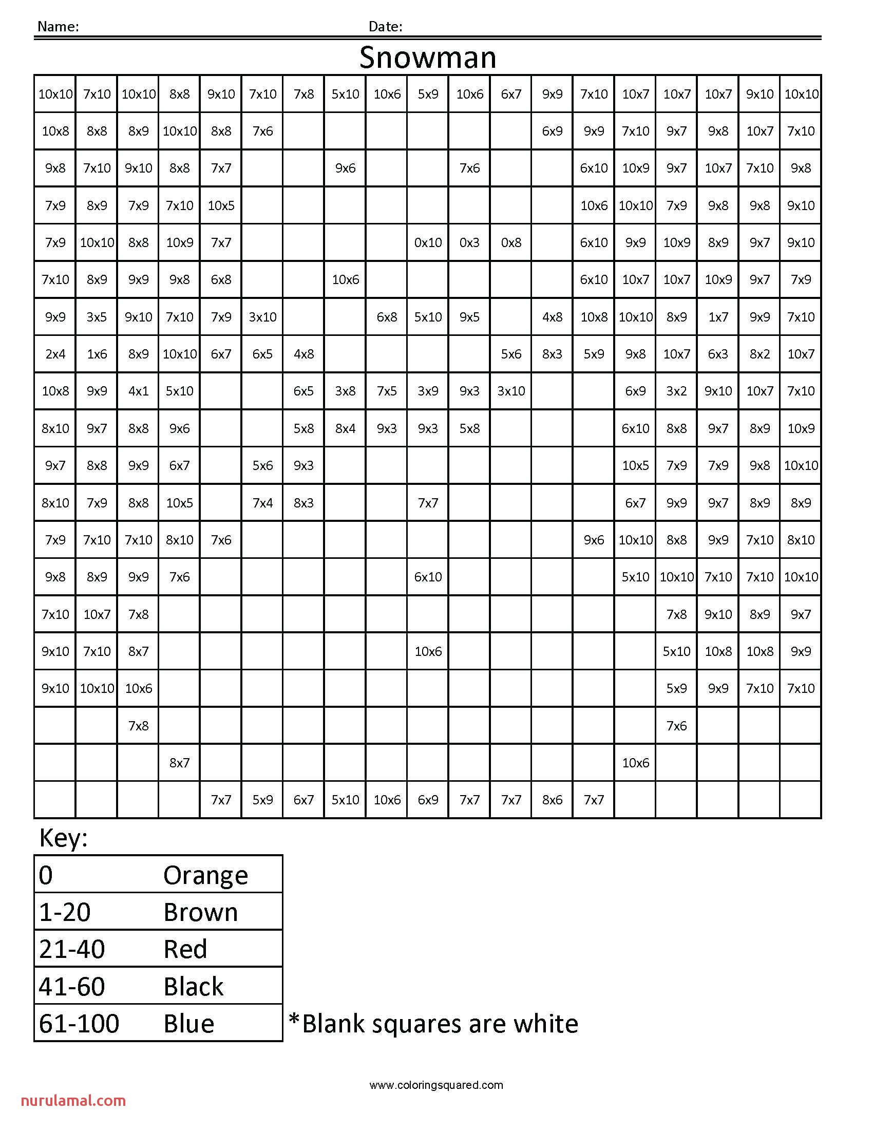 Math Coloring Squares Worksheets