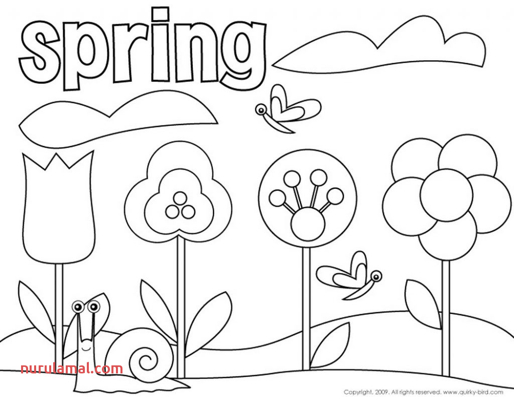 Kindergarten Spring Color Worksheets Practice 001