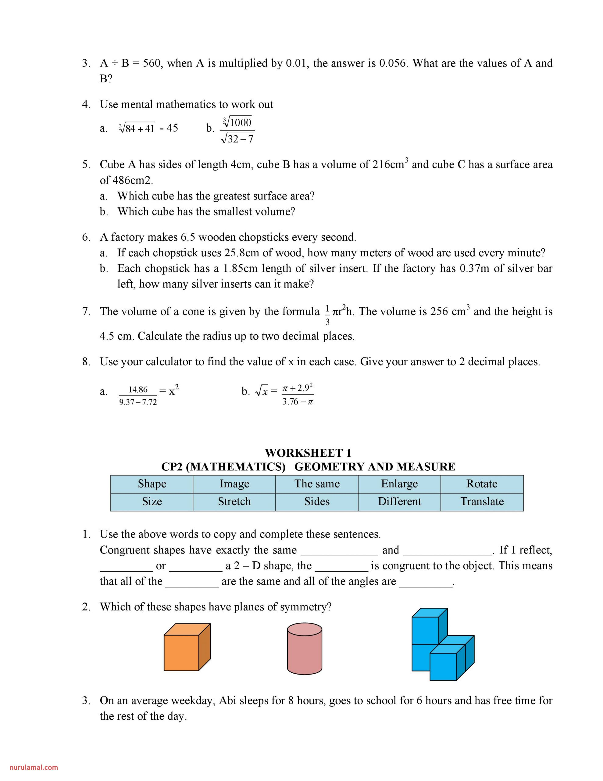 7th Grade Minute Math Worksheets Answers