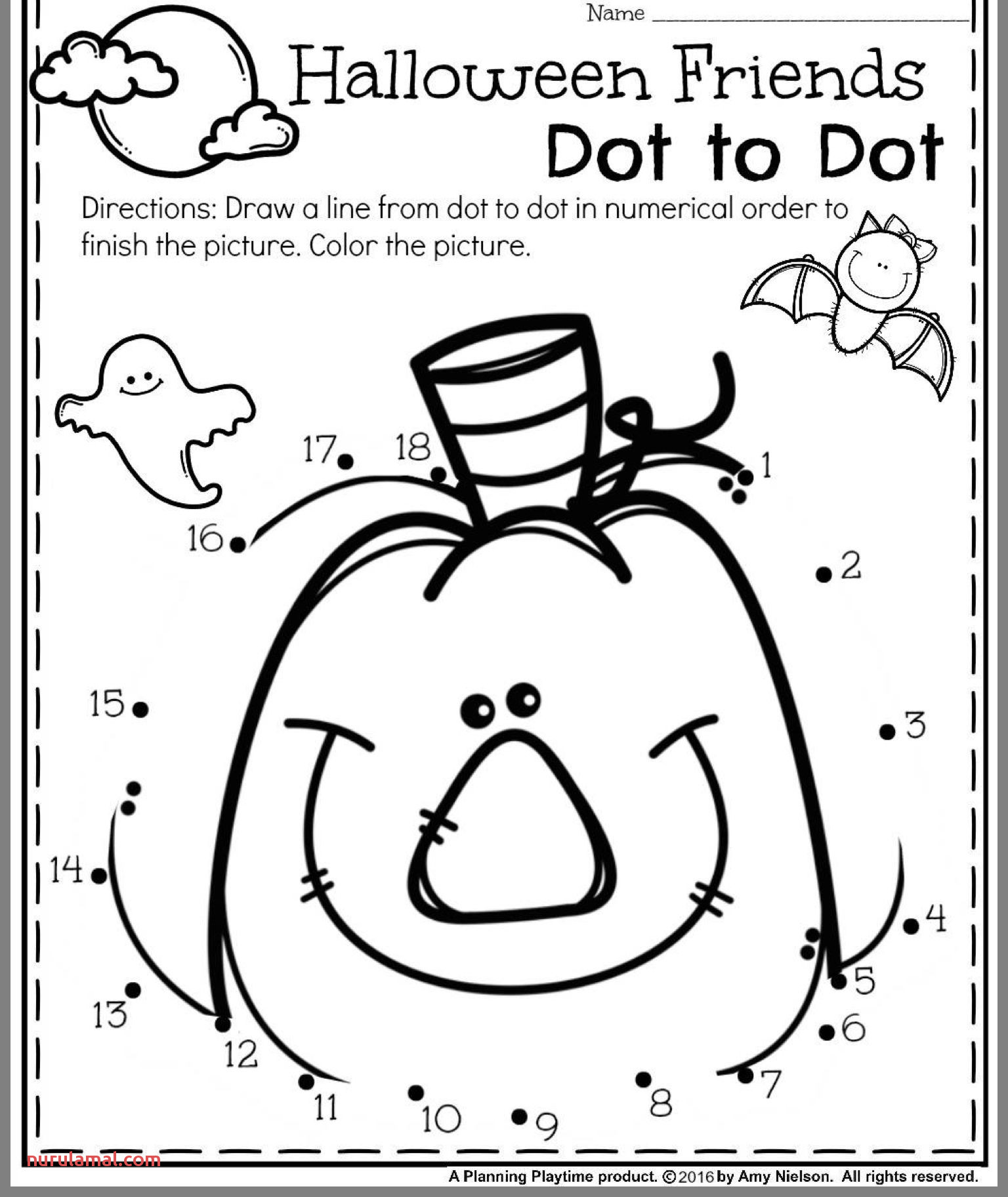 Halloween Connect The Dots Worksheet Printable