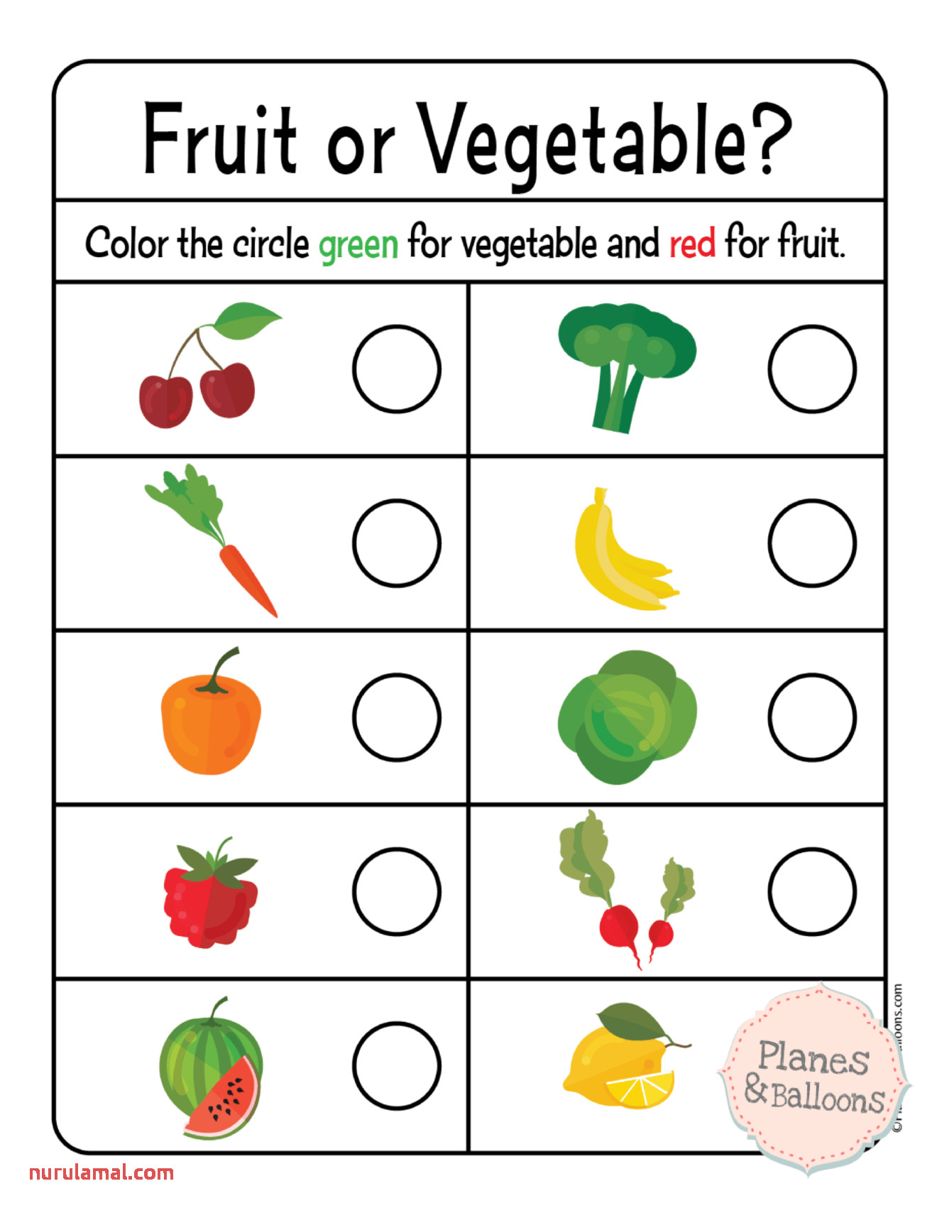 Preschool Vegetables Worksheets The Color