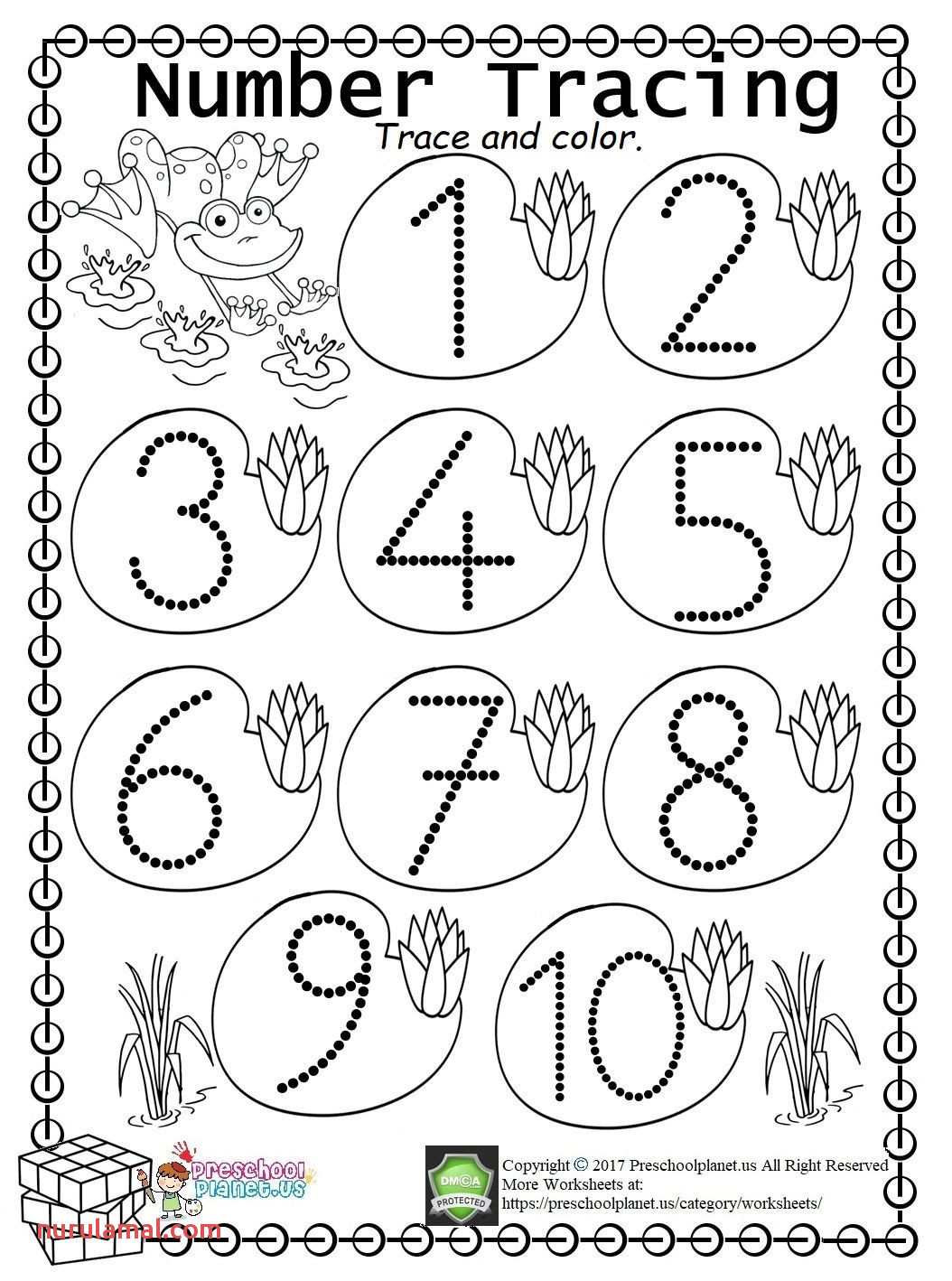 Number 9 Tracing Preschool Worksheets
