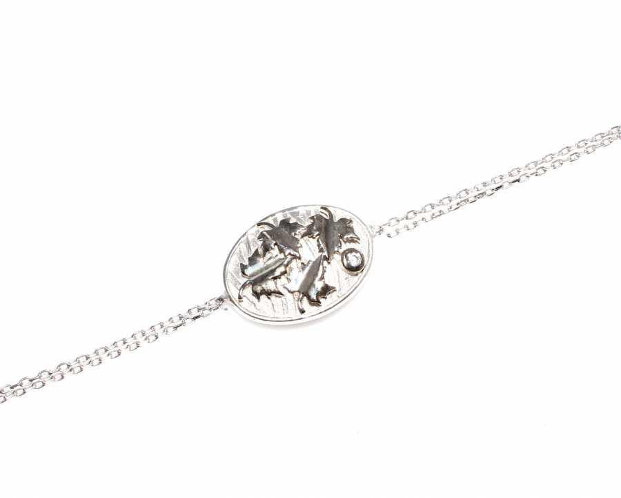 925 Ayar Gümüş Yaprak Modeli Zincir Bileklik, Beyaz