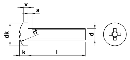 Phillips Pan Head Machine Screws ISO 7045 (DIN 7985H) M6