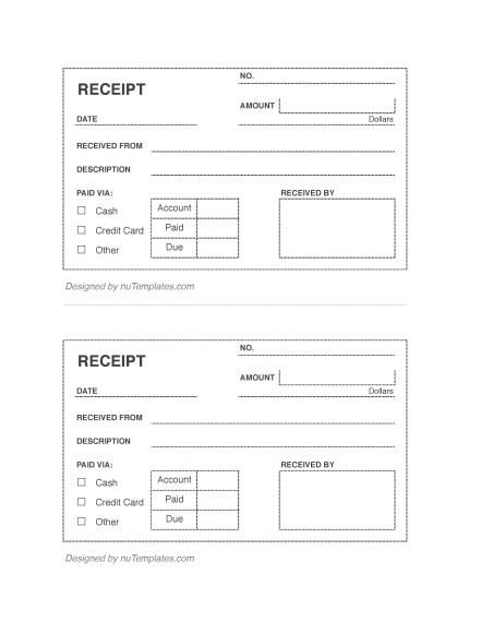 instructions for use blank receipts - Blank Receipt