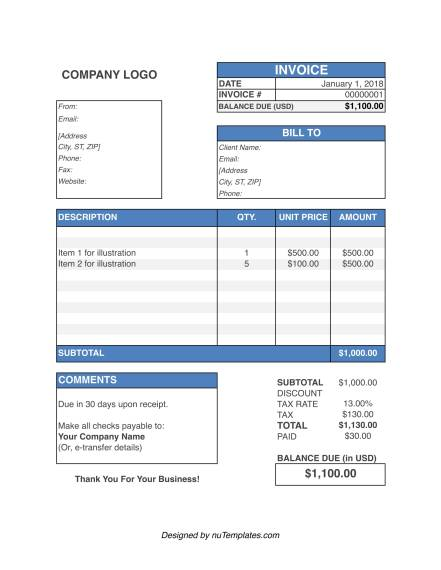 business invoice template img