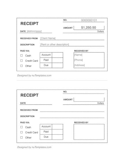 cash receipt template cash receipts nutemplates