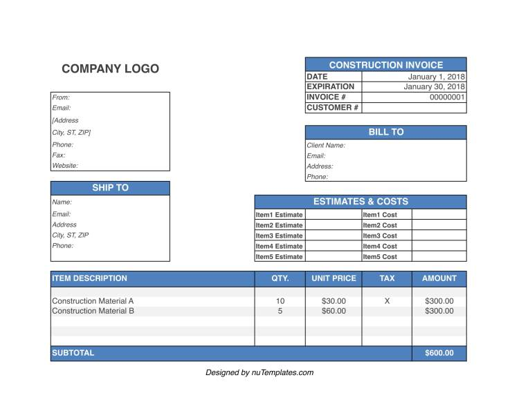 construction invoice template img