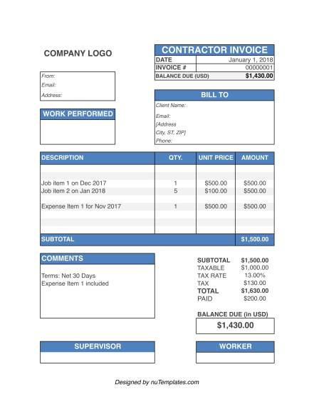 Contractor Invoice Template - Contractor Invoices | Nutemplates