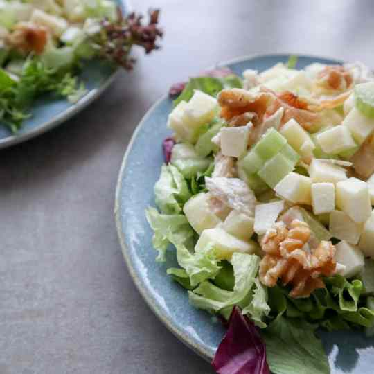 Waldorf salad close up on a blue plate