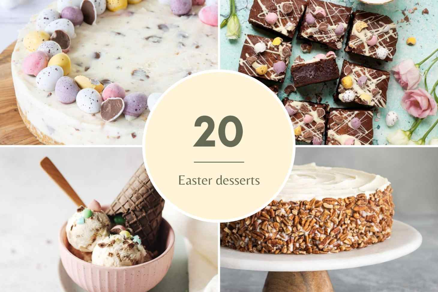 round-up post about 20 Easter desserts