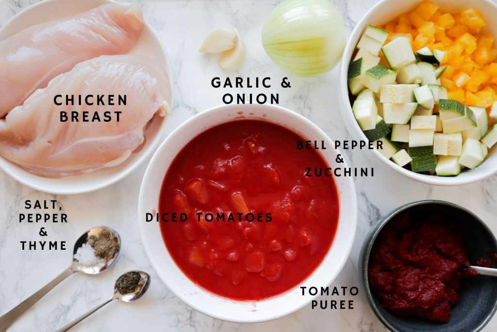 Ingredients for spaghetti sauce with chicken