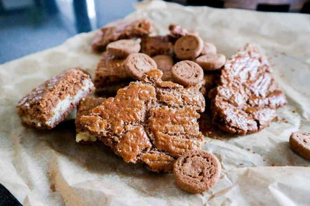 Pepernoten and Speculaas on baking sheet