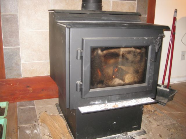 efficient wood stove in living room