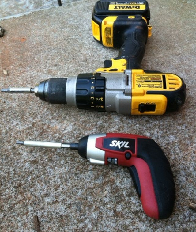 the small powered screw driver turns more slowly and with less torque - why strip bolt heads needlessly?