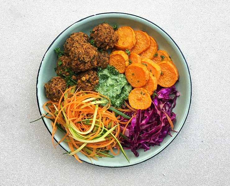 Lentil Meatballs and a Buddha Bowls