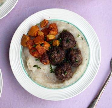 Mini Meatballs with Turnip and Potato Mash