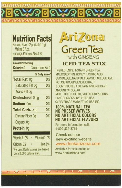 Arizona Iced Tea Nutrition Label