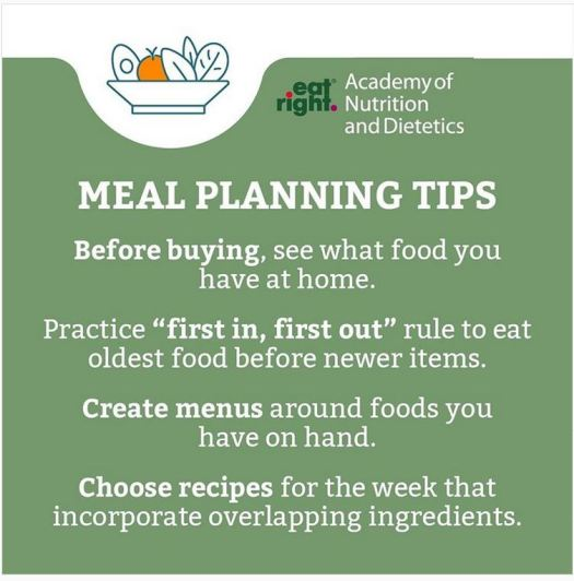 """Meal Planning Tips"" Before buying, see what food you have at home. Practice ""first in, first out"" rule to eat oldest food before newer items. Create menus around foods you have on hand. Choose recipes for the week that incorporate overlapping ingredients."
