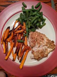 breaded chicken, sweet potatoes, and green beans