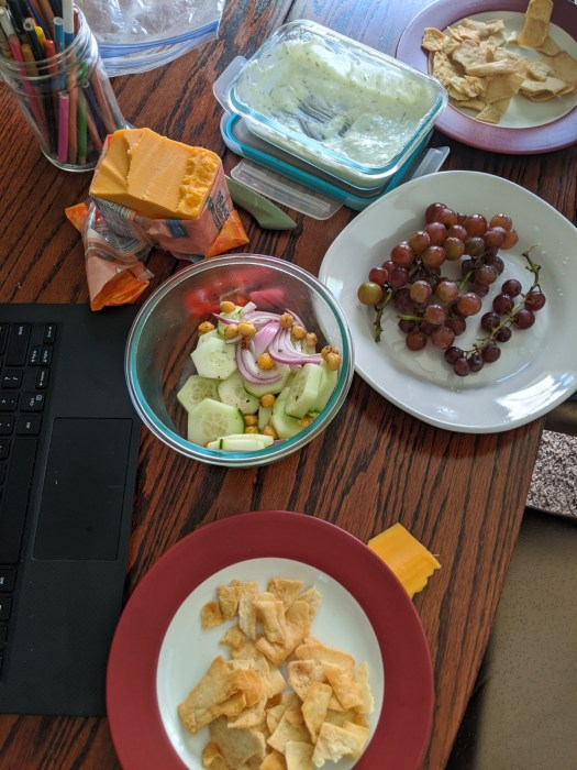 2 plates with broken pita chips and a block of cheese in wrapper, half eaten container of salad, sauce, and some grapes on a workstation