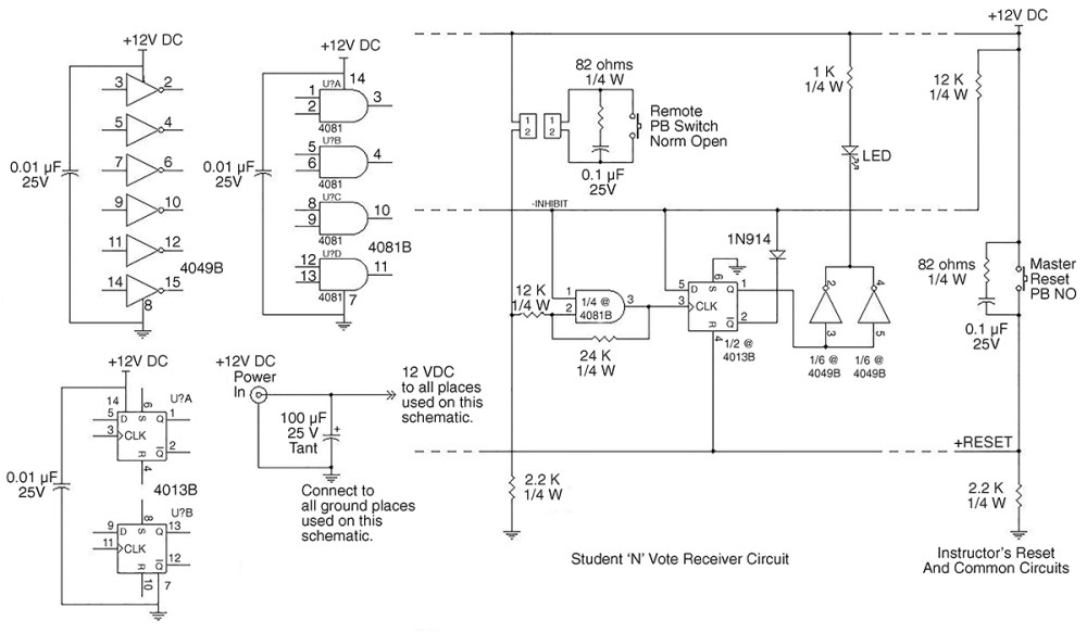 medium resolution of each student readout consists of a d flipflop an and gate an inverter a diode and an led plus associated wires resistors and capacitors as shown