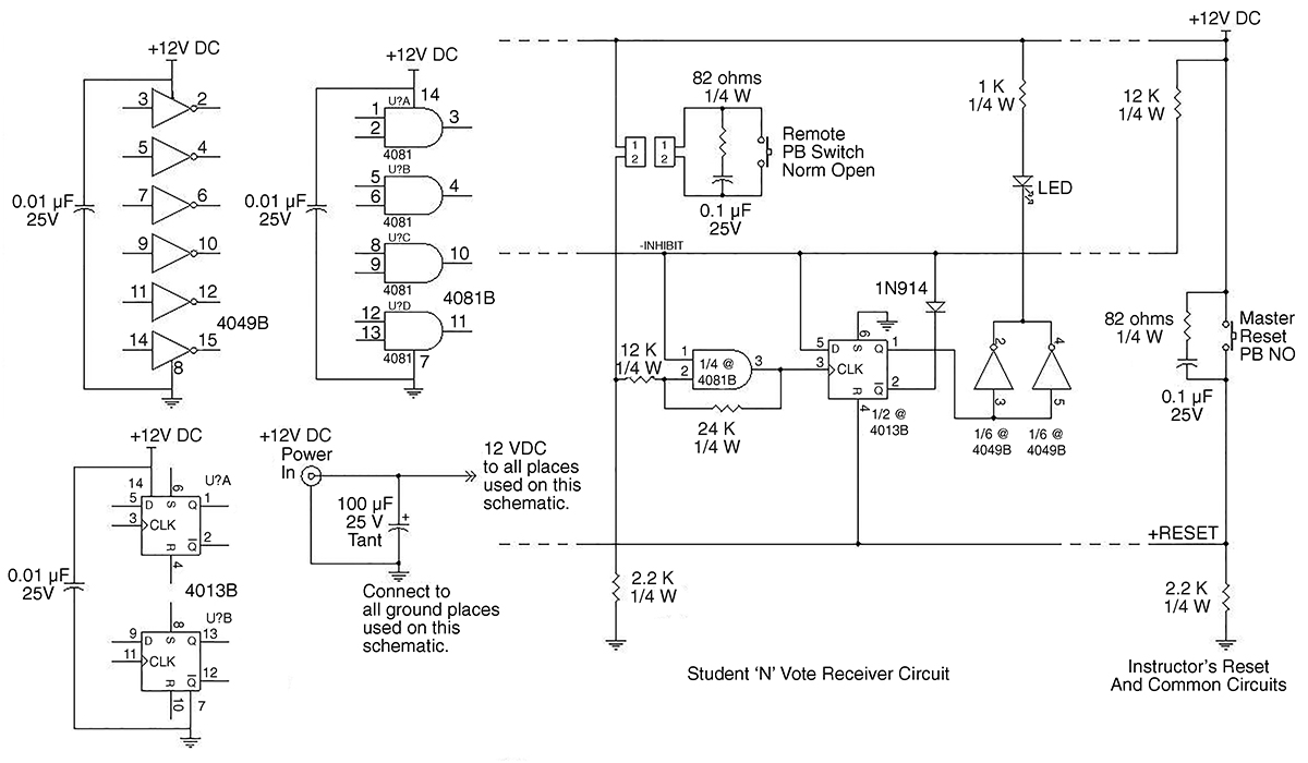 hight resolution of each student readout consists of a d flipflop an and gate an inverter a diode and an led plus associated wires resistors and capacitors as shown