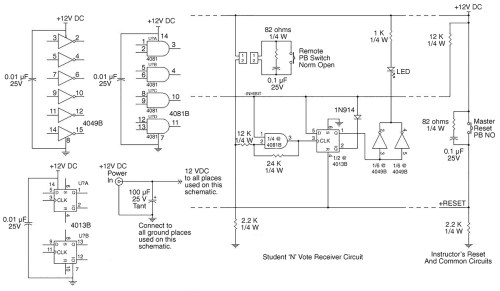 small resolution of each student readout consists of a d flipflop an and gate an inverter a diode and an led plus associated wires resistors and capacitors as shown