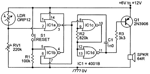 small resolution of in practice the switching point of each individual 4001b ic is very stable and the figure 7 circuit gives very sensitive light activated alarm