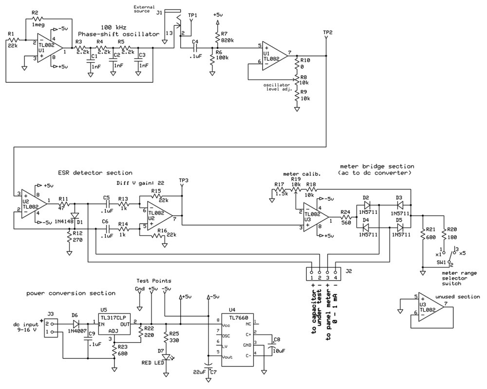 medium resolution of electrical schematic of the esr meter