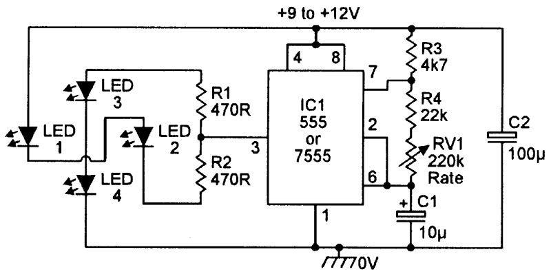 single led flasher circuit