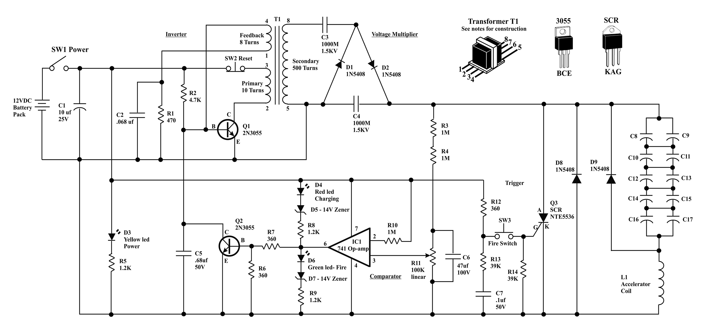 coil gun wiring diagram 2001 ford explorer sport trac fuse box electromagnetic project nuts and volts magazine