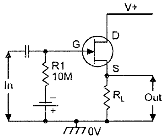 basic n channel jfet source follower circuit neglecting biasing