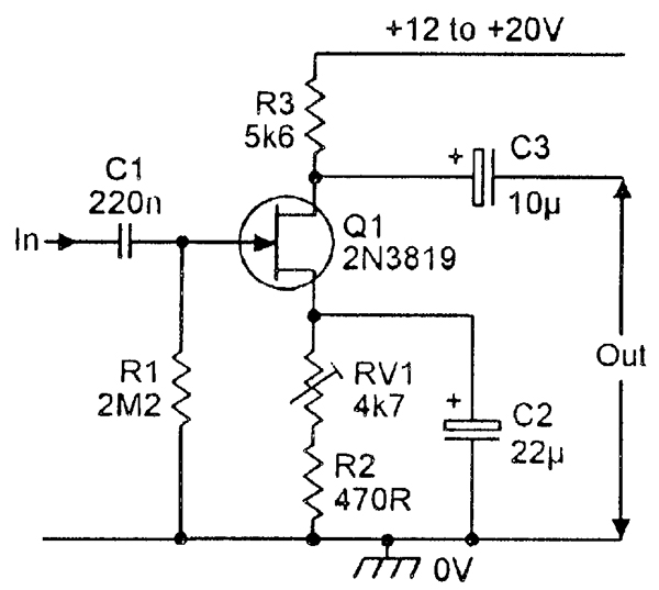 circuit diagram of self bias jfet amplifier