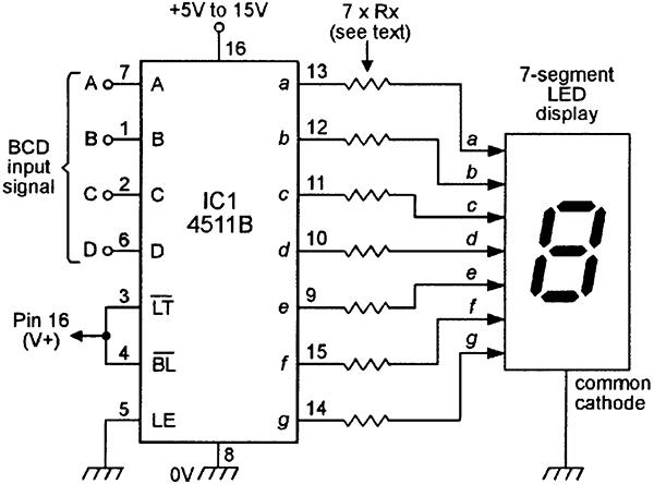 bcd to seven segment display circuit