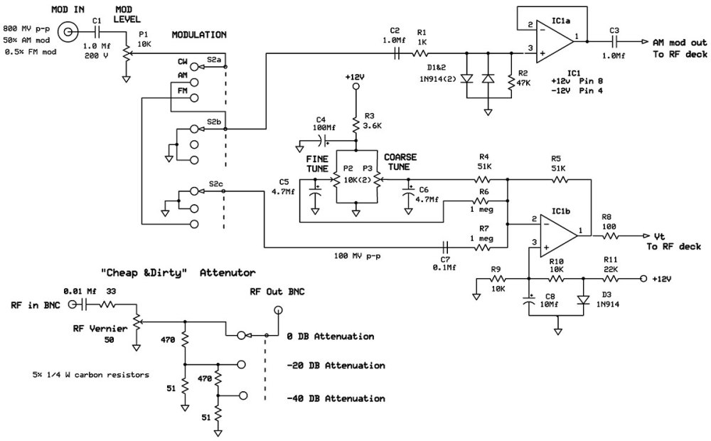 medium resolution of diodes d1 and d2 clamp the input signal circuit for a maximum signal level of 1 4 volts p p this is for the protection of over driving p5 of the mc1648